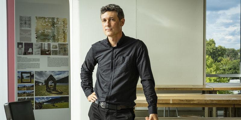 Gabriel Kaprielian wearing a black button down shirt and black pants