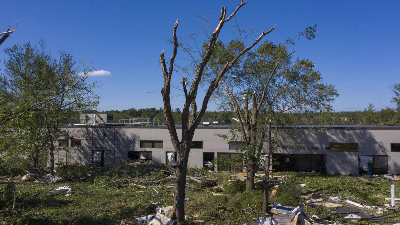 Tornado damage at Ambler Campus.