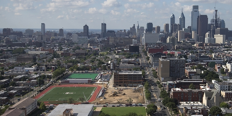 The new sports complex and the Philadelphia skyline, as seen from the top of Morgan Hall.