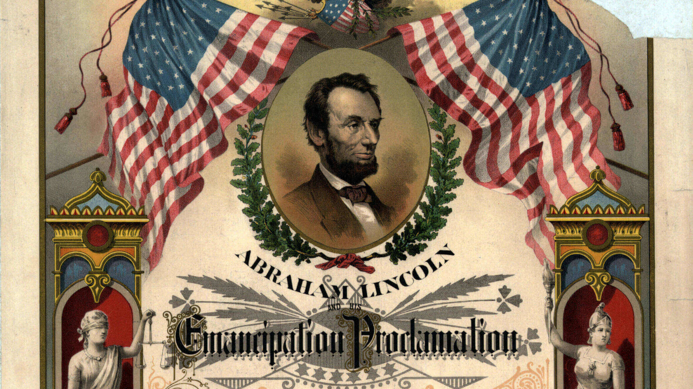 An illustrated copy of the Emancipation Proclamation.