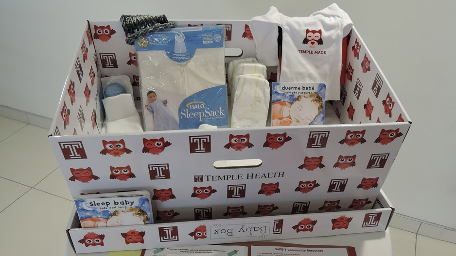 An example of the baby box being distributed at Temple Hospital.