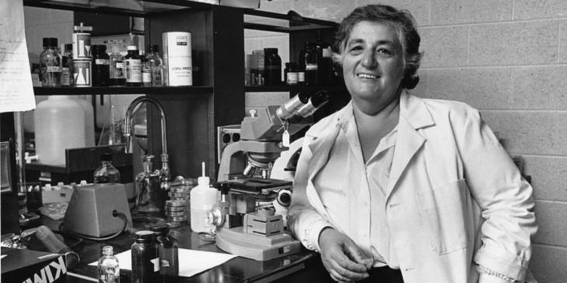 Temple's first Provost, Barbara Brownstein, in her biology lab.
