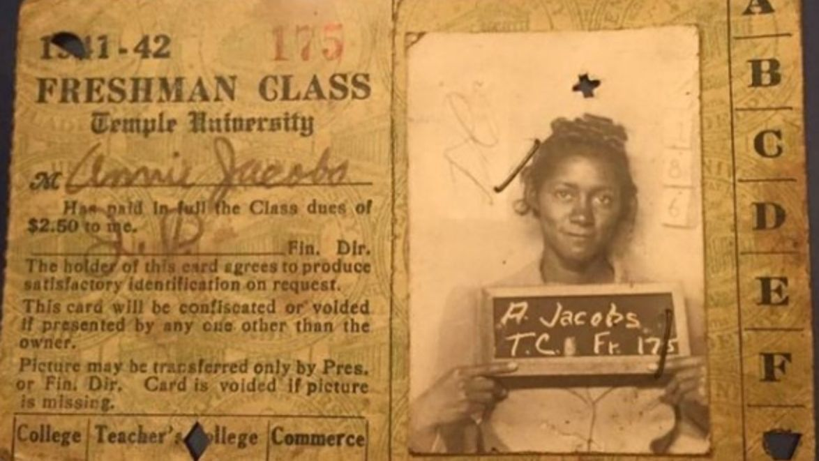 Image of Annie Jacobs' Temple ID card as a first-year student, 1941–1942