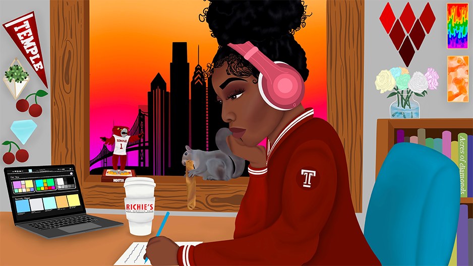 image of a student with headphones