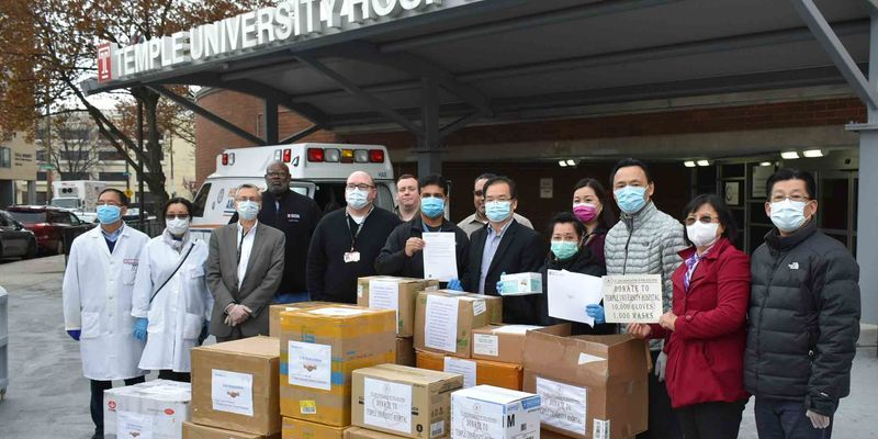 Mask donations at Temple Hospital