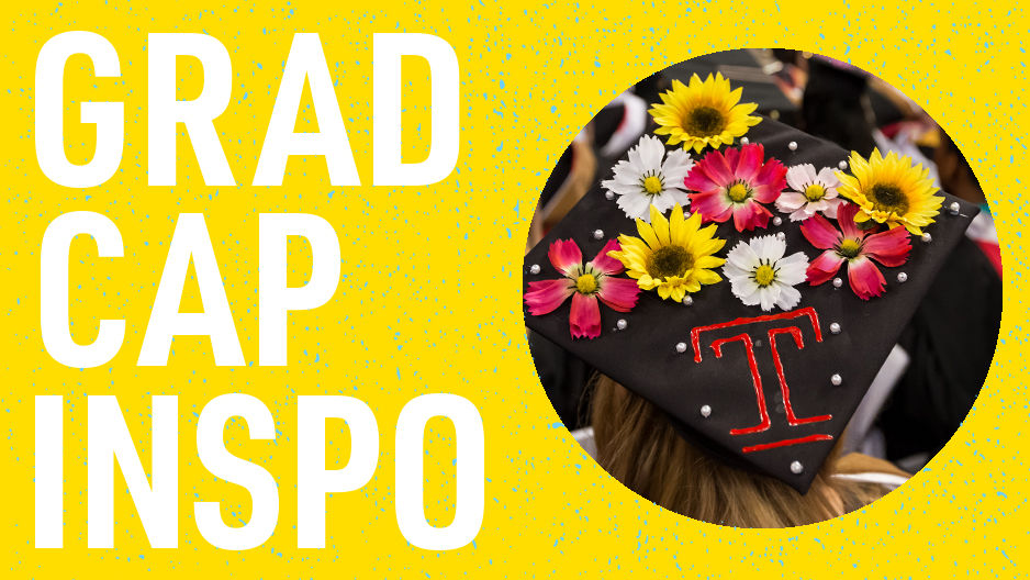 "A graduation cap decorated with flowers and a Temple ""T"" with read that reads ""grad cap inspo."""