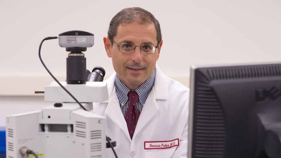 Domenico Praticò, professor of pharmacology, wearing a lab coat.