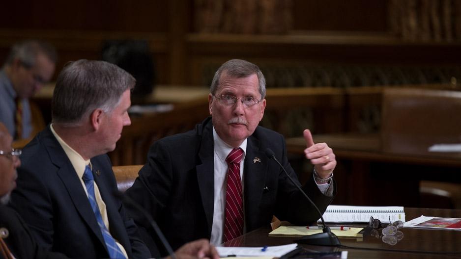 President Englert testifying in Harrisburg.