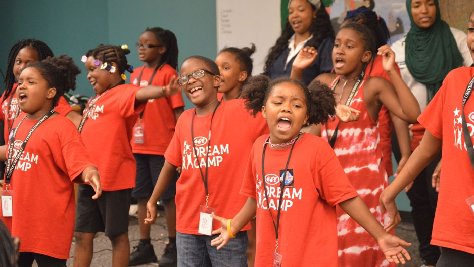 fourth grade ESF Dream Campers performing
