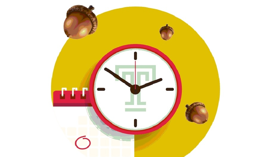 """A clock with a Temple """"T"""" on its face next to a calendar with floating acorns hovering above."""