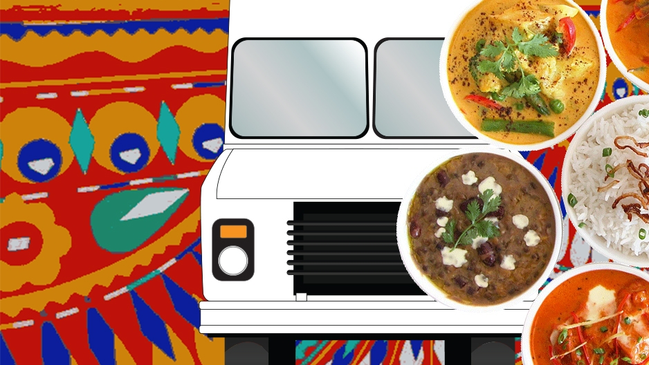 Animated graphic of a food truck with various dishes rotating in front of it.