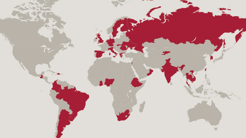 world map highlighting countries hosting Temple Student Fulbright grantees since 2000