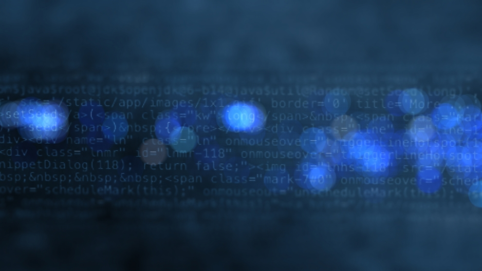 Graphic showing programming code and blue dots.