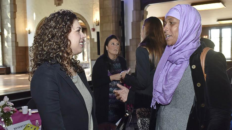 A group of women talking.