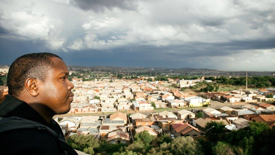 Marvin DeBose looking out over a neighborhood in Johannesburg, South Africa.