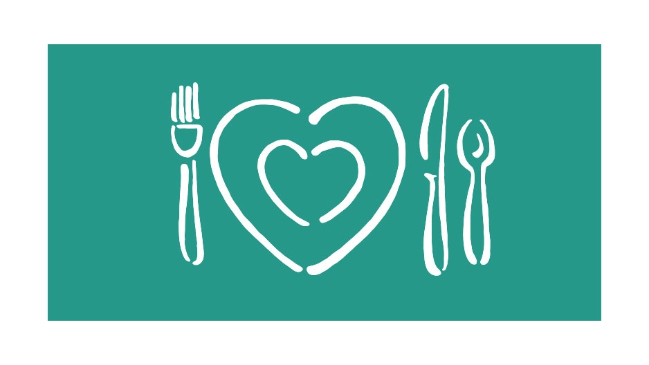 An illustration of eating utensils and a heart shaped plate.