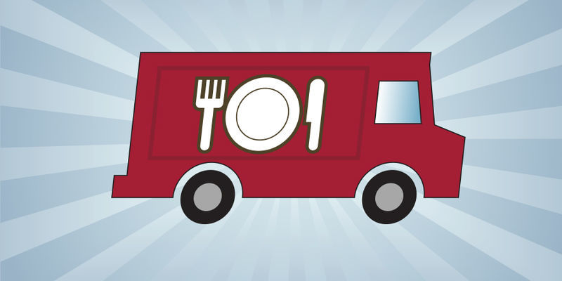 a red truck with a place setting on its side