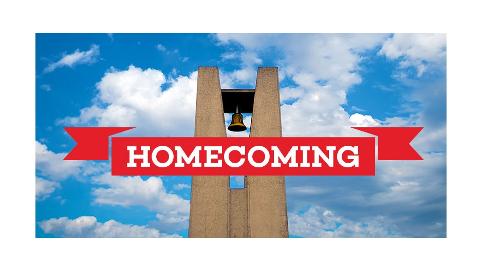 "An image of the Bell Tower with a banner that reads ""Homecoming""."
