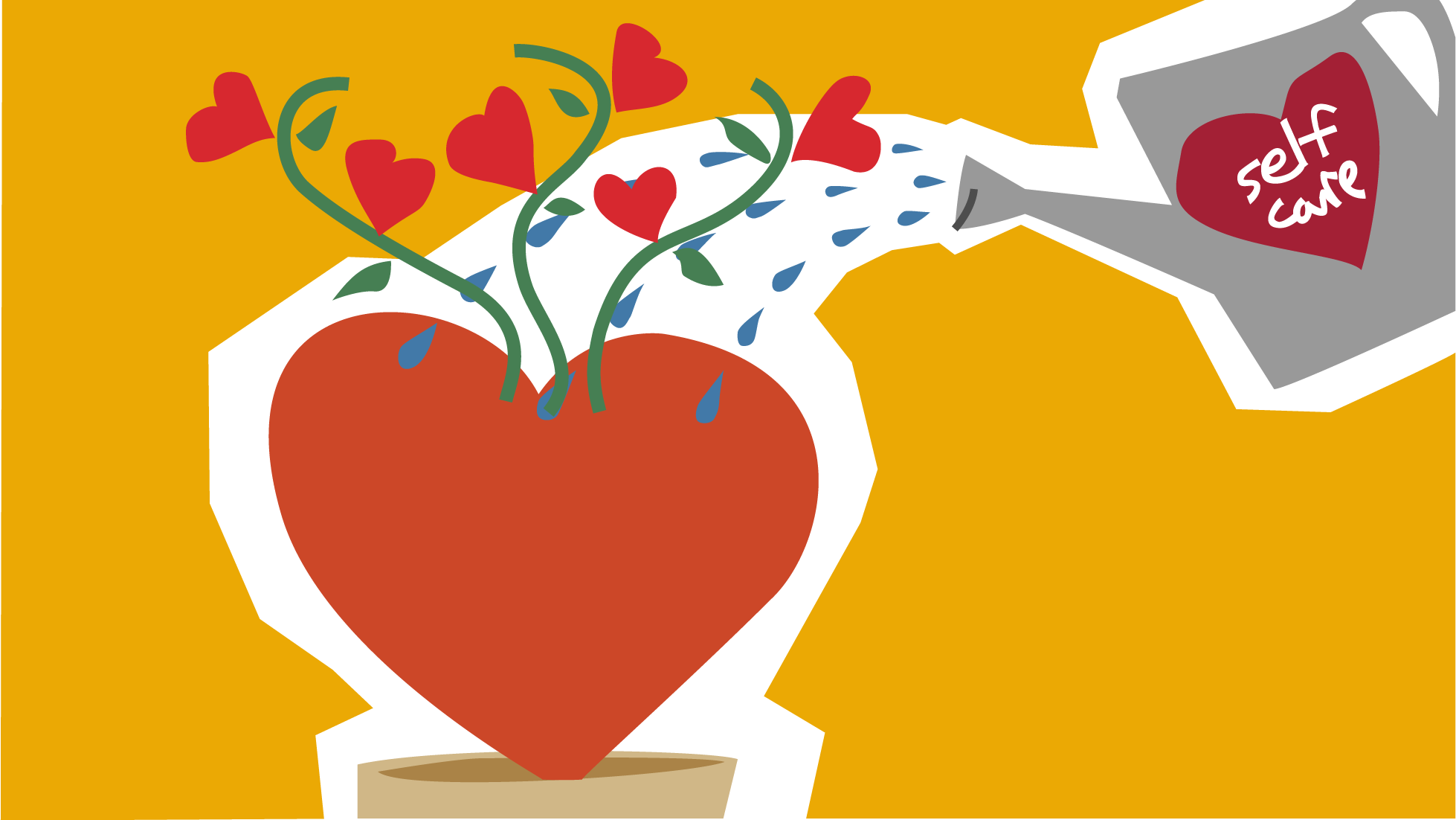 An illustration of a self-care watering can pouring onto a growing heart.