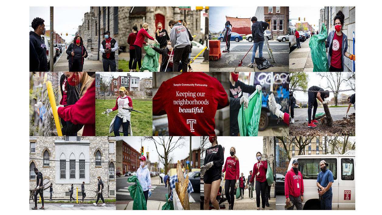 Temple students sweeping streets and collecting litter in North Philadelphia.