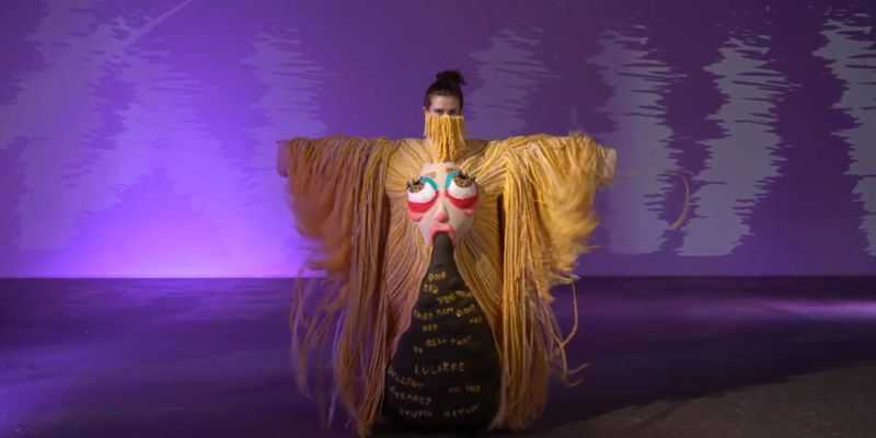 A student poses during the Wearable Art Show.