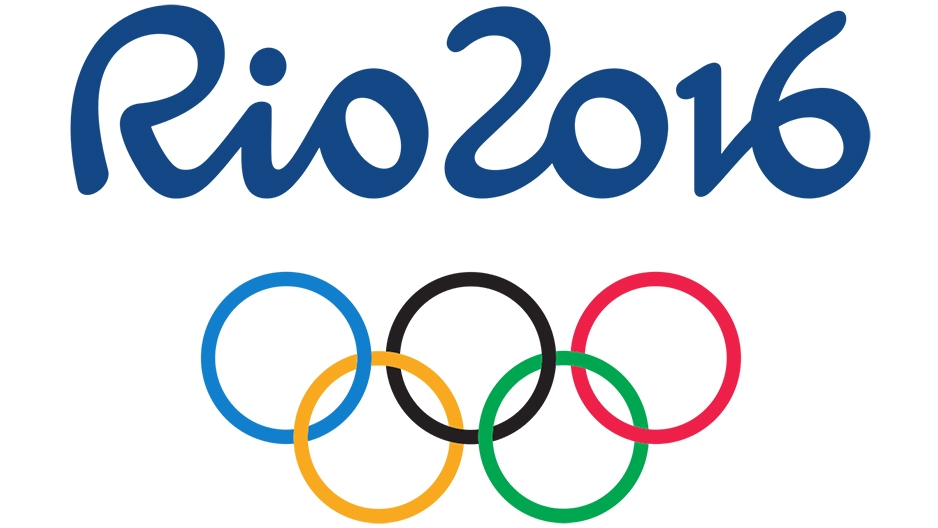 "A ""Rio 2016"" graphic with the Olympic rings."