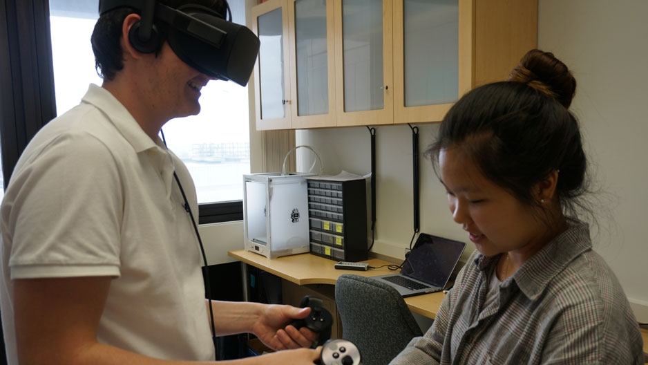 Students using virtual reality technology