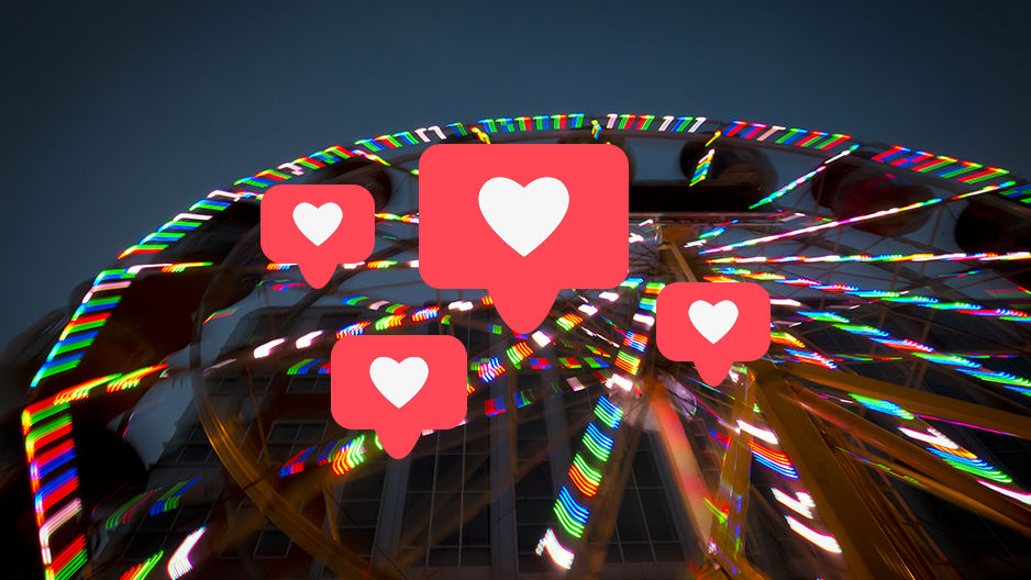 heart bubbles over a ferris wheel