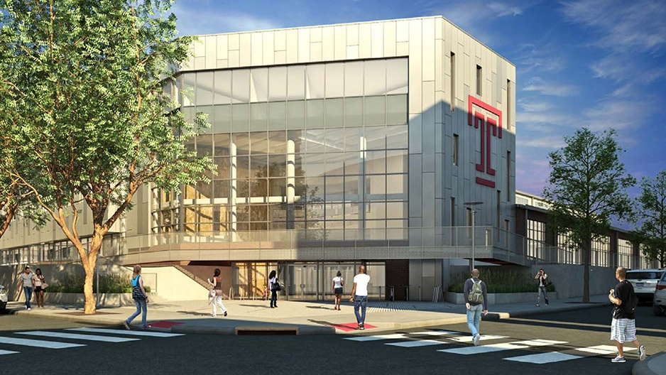 A rendering of the new Student Health and Wellness Center on Temple's campus.