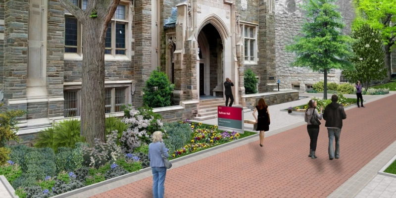 A rendering of upgraded landscaping outside Sullivan Hall.