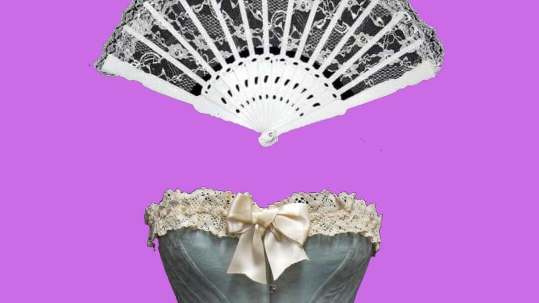 """Black and white images of a fan and a corset, part of the poster for """"The Country Wife."""""""