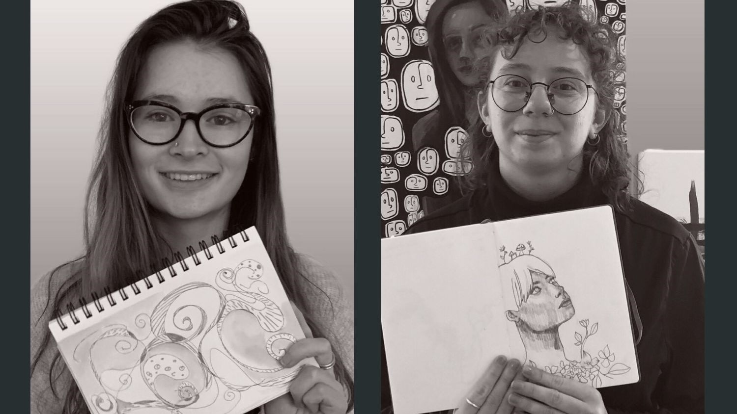 Temple University and Drexel University students show off their art work.
