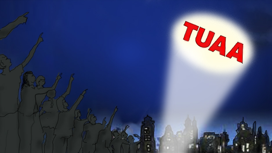 An illustration of people looking up to the sky of a TUAA signal.