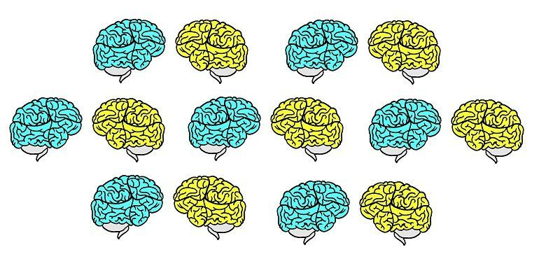 Many bright blue and yellow brains floating together.