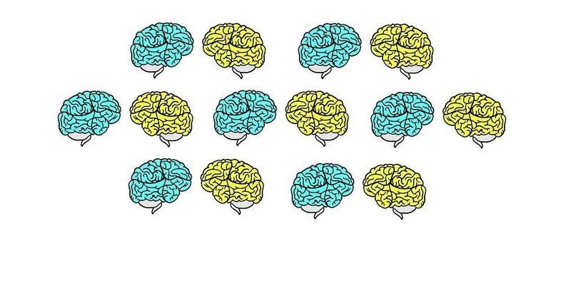 drawings of brains in blue and yellow colors