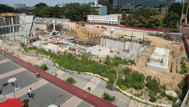 aerial photo of the construction site of Temple's future library
