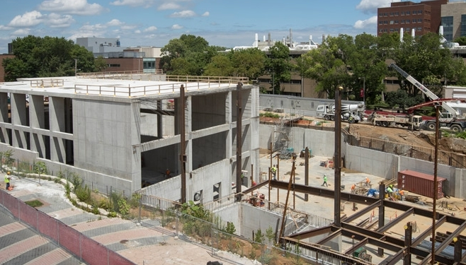 the construction site of Temple's new library