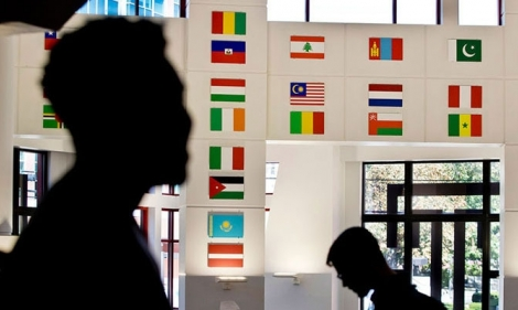 International flags on display in Temple's Student Center