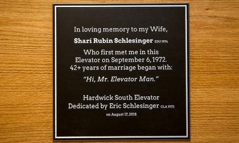 Shari Schlesinger memorial plaque in Hardwick Hall