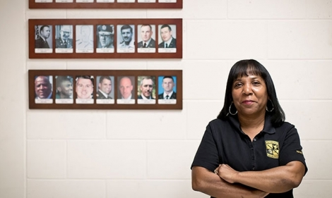 Jackie Hankins-Kent in the ROTC office