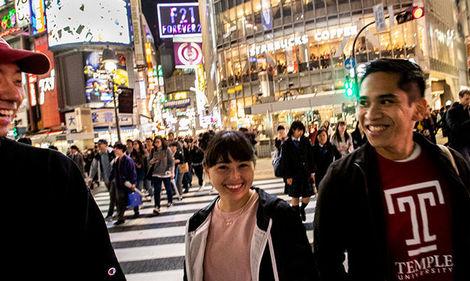 Temple students walking in Tokyo