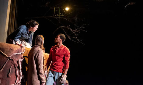 Three MFA students act out a scene from 'Somewhere,' a new play commissioned by Temple Theaters.