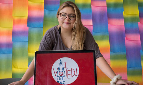 "Tyler student Katie Fish designed the ""I Voted"" sticker for Philadelphia."