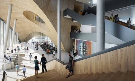 A rendering of the atrium designed for Temple's new library.