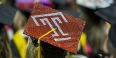 "A graduation cap decorated to show the Temple ""T."""