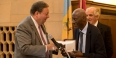 David Cohen presenting historian Charles L. Blockson with the Philadelphia Award