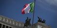The Italian flag flying in Rome.
