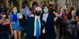 Temple students Katelyn Barbour and Justin Procope dressed as Joe Biden and Kamala Harris.