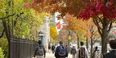 students walking down Broad Street