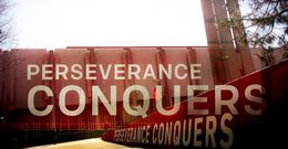 The Perseverance Conquers mural on Main Campus.